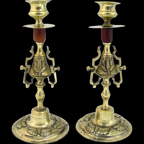 Pair Of Empire French Gilt Bronze Ormolu Candlesticks, Circa 1820.