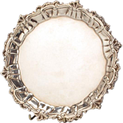 George III Sterling Silver Salver Tray By Ebenezer Coker, London, 1757.