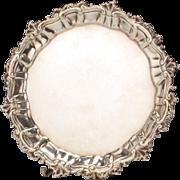 George III Sterling Silver Salver Tray By Ebenezer Coker, London, 1757.