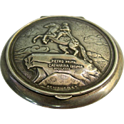 Russian 84 Silver Monument To Peter I Powder Case St. Petersburg Russia 1950's.