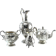 Victorian Sterling Silver 4pcs Tea Service, Marshall & Sons, Edinburgh, Scotland, 1849.