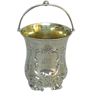 Victorian Sterling Silver Swing Handle Cup England 1844.