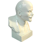 Vladimir Lenin Glazed White Ceramic Bust Sculpture.