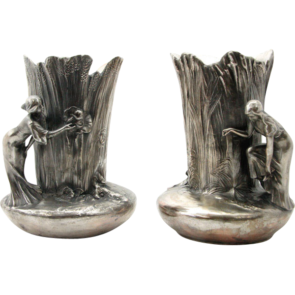 Pair of Art Nouveau Vases by Charles Theodore Perron, France, Circa 1900.