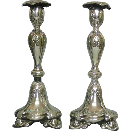 WMF Fraget Silver Plated Candlesticks, Poland, Ca 1900.