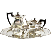Art Deco Sterling Silver 5pcs Tea & Coffee Set On Tray, Emile Viner, Sheffield, 1946.