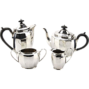 Art Deco Sterling Silver 4pcs Tea & Coffee Set, Birmingham, England, 1950.