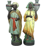 Pair Of Terracotta Oriental Figures Sculptures Austria Ca 1900.