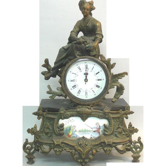 French Bronze Shelf Mantle Clock, Ca 1900.