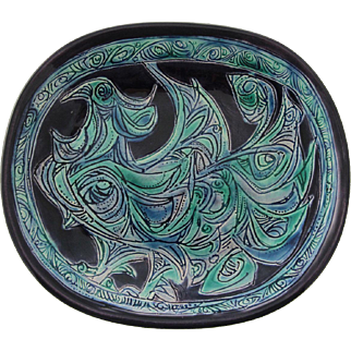 Vintage Gofer Glazed Ceramic Peacock Plate, Israel, 1960's.