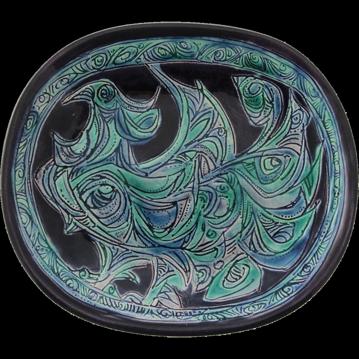 Vintage Gofer Glazed Ceramic Peacock Plate, Israel, 1960's.