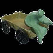 """Bronze Sculpture - """"Fiddler On A Wagon"""" Israel 1950s."""