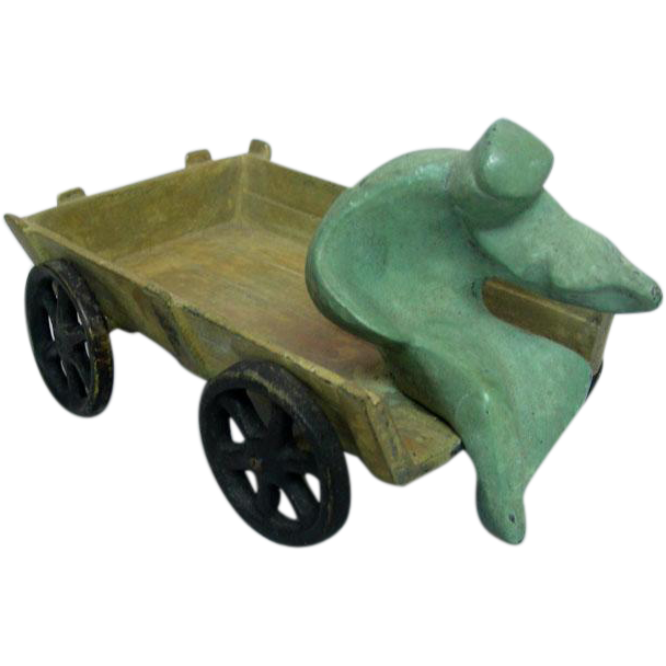 "Bronze Sculpture - ""Fiddler On A Wagon"" Israel 1950s."