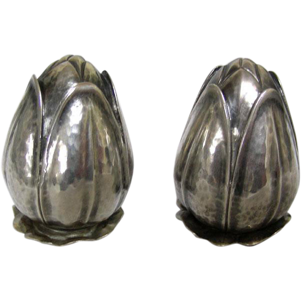 Novelty Pair Of Silver Salt And Pepper Shakers Spain 1950s