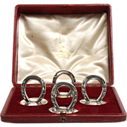 Sterling Silver 4 Horseshoe Menu Card Holders Set, William Hornby, London, 1904.