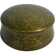 Antique Brass Pan Box & Cover, Deccan, India, Ca 1750