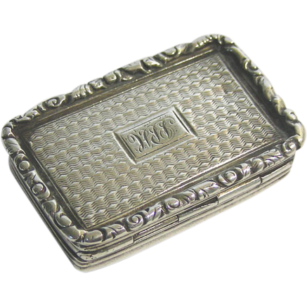 William IV Sterling Silver Vinaigrette, Joseph Willmore, Birmingham, England, 1836.