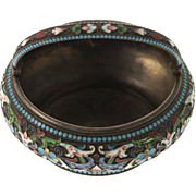 Silver & Enamel Cloisonne Sugar Bowl Basin Maria Semenova Moscow Russia 1896-1908