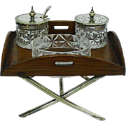 Novelty Oak & Silver Plated Condiment Set On Miniature Tray, Sheffield, Ca 1910.
