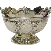 Sterling Silver Presentation Monteith Bowl, John Bodman Carrington, London, England, 1895.