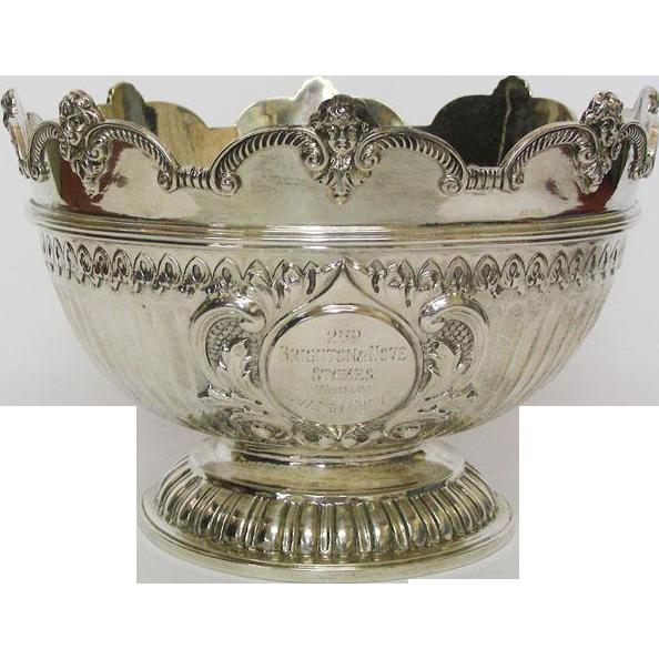 Sterling Silver Presentation Monteith Bowl, John Bodman Carrington, London, England, 1895.