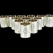Set Of 12 Silver Beakers Cups, St. Petersburg, Russia, 1896-1908.