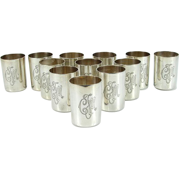 Set Of 12 Silver Beakers Cups, St. Petersburg, Russia, 1896-1908.