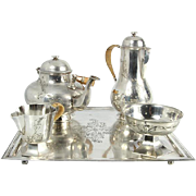 Continental Silver 5pcs Tea & Coffee Service Set With Square Salver, Circa 1920.