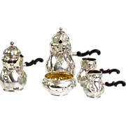 Silver 5pcs Cafe Au Lait Set By Mohl, Dresden, Germany, 1910.