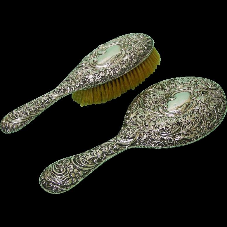 Sterling Silver Hair Brush & Hand Mirror, Henry Matthews, England, 1900-1.