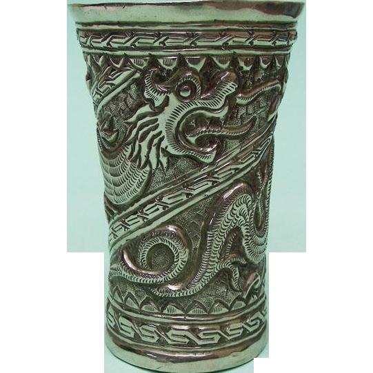 Chinese Artisan Silver Large Cup Beaker, Ca 1900.