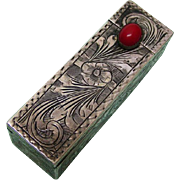 Silver Lipstick Holder With Mirror Italy Ca 1920.