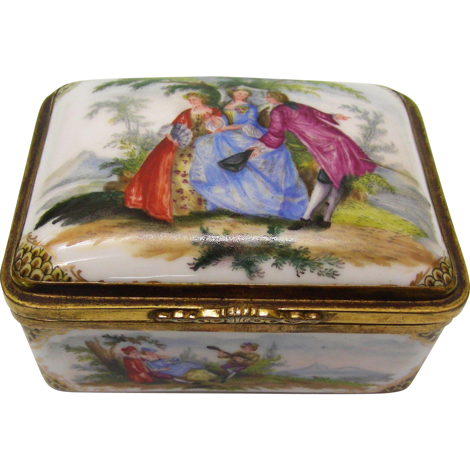Continental Gilt Metal Mounted Porcelain Rectangular Snuff Box, Ca 1880