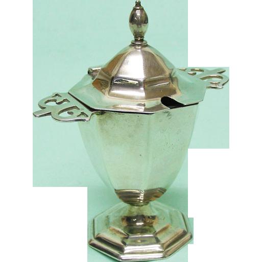 George V Sterling Silver Mustard Pot by Roberts & Belk Sheffield England 1912