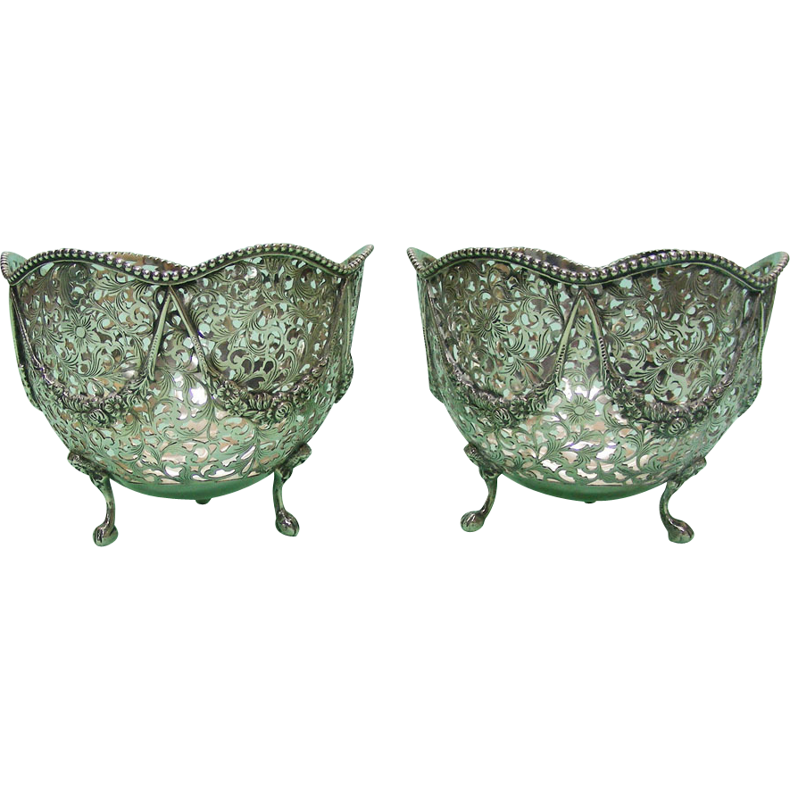 air Of Dutch Export Silver Sweetmeat Bowls Netherlands Circa 1900