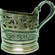 Silver & Niello Glass Holder Russia 1950's.