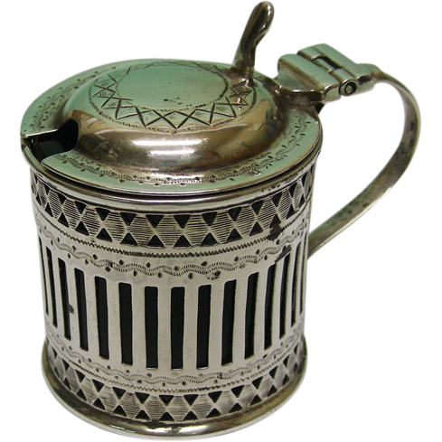 Sterling Silver Mustard Pot By Atkin Brothers, Sheffield, England, 1911.