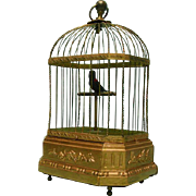 Rare Singing Bird Cage Automaton Music Box, Karl Griesbaum, Germany, Ca 1880.