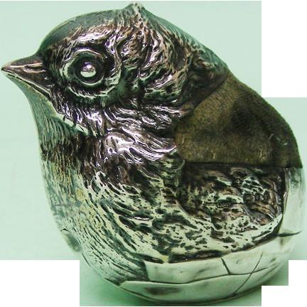 Novelty Sterling Silver Chick Pin Cushion, Sampson Mordan, London, 1922.