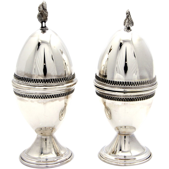 Pair Of Artisan Sterling Silver Rooster & Hen Egg Cups.