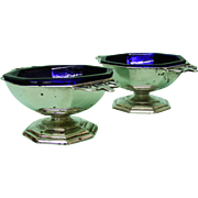 Pair Of Sterling Silver Salt Cellars Roberts & Belk Sheffield 1910.