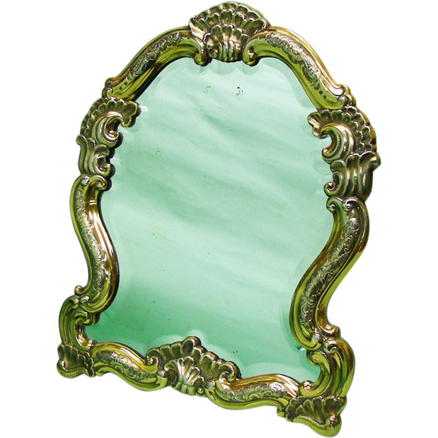 Gilt Sterling Silver Dressing Table Mirror, Anton Michelsen, Copenhagen, Denmark, 1930's.