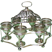 Old Sheffield Plate Breakfast Egg Cups Cruet Set On Stand, Sheffield, Ca 1790