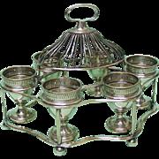 Old Sheffield Plate Breakfast Egg Cups Cruet Set On Stand, Sheffield, Ca 1790