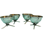 Novelty Sterling Silver 4 Drum Salt Cellars Set, Hirons, Plante & Co, Birmingham, 1868.