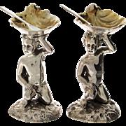 Novelty Pair Of English Silver Plated Cherub Salt Cellars & Spoons.