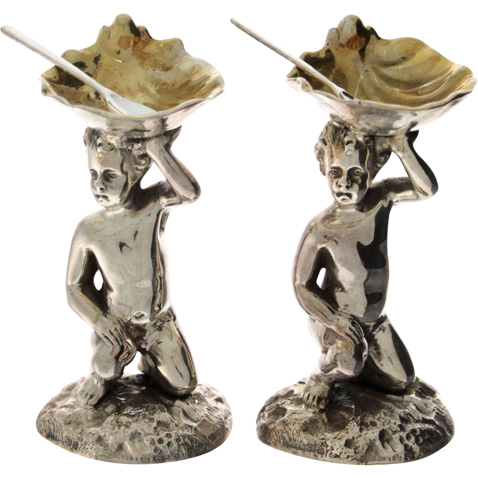 Novelty Pair Of English Silver Plated Cherub Salt Cellars & Spoons.