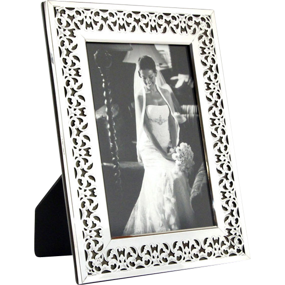 High Quality English Sterling Silver Mounted Wood Pierced Photo Picture Frame.