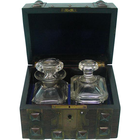 French Perfume Casket With Two Crystal Bottles Ca 1850.