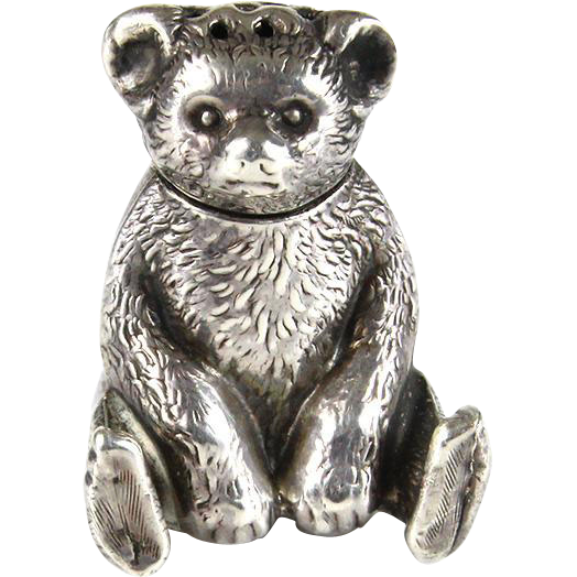 Novelty Sterling Silver Teddy Bear Pepper / Salt Shaker, Joseph Gloster, Birmingham, England, 1909.